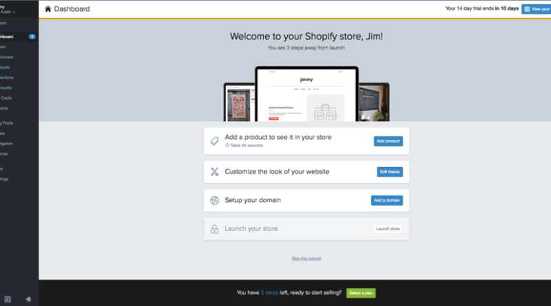 shopify store administration